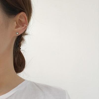 925실버 미니크리미 형광 하트꼬임 귀걸이