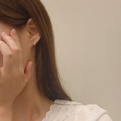 925실버 쓰리큐빅 원터치 귓바퀴 미니 링 귀걸이