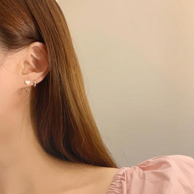 925실버 925실버 통통하트 원터치 귓바퀴 미니 링 귀걸이