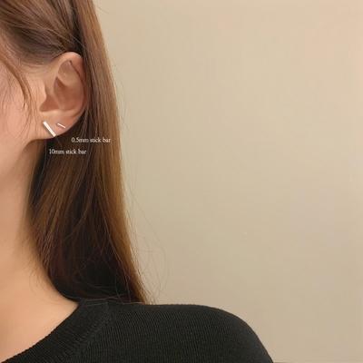 925실버 베이직 기본 미니 스틱바 귀걸이10mm 5mm