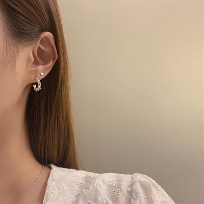 925실버 트위스트 체인꼬임 링 귀걸이