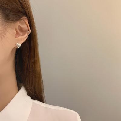 925실버 양면 통통하트 볼드 원터치 귀걸이 3color