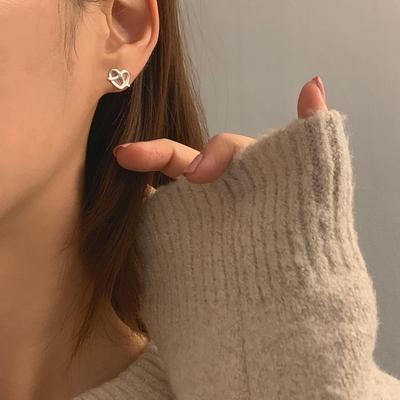 925실버 14k골드도금 납작 프레즐 하트 큐빅 귀걸이