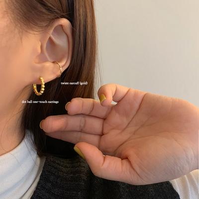 925실버 14k골드도금 도트 볼 원터치 귀걸이