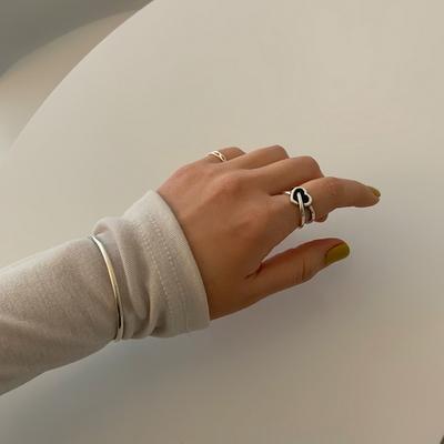 심플 링 레이어드 볼뱅글 은팔찌 3mm