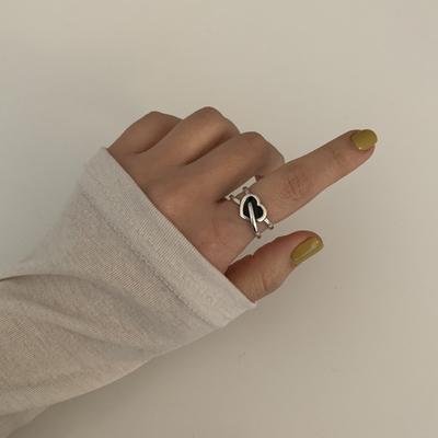 오픈형 블랙 도넛하트 두줄 은반지 silver925