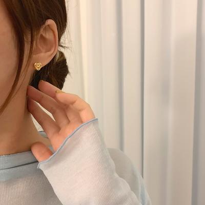 925실버 14k골드도금 클래식 엔틱 볼드 하트 귀걸이