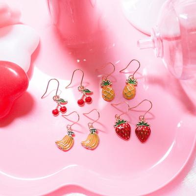 과일 귀걸이(딸기.바나나.파인애플.체리)