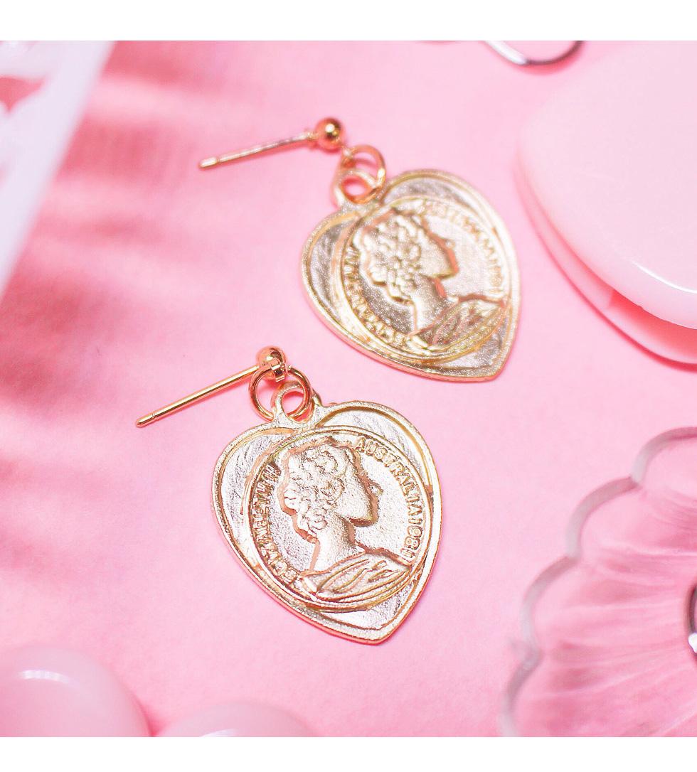 골드 포인트 하트 귀걸이(귀찌) - 쿠잉미, 13,000원, 골드, 드롭귀걸이