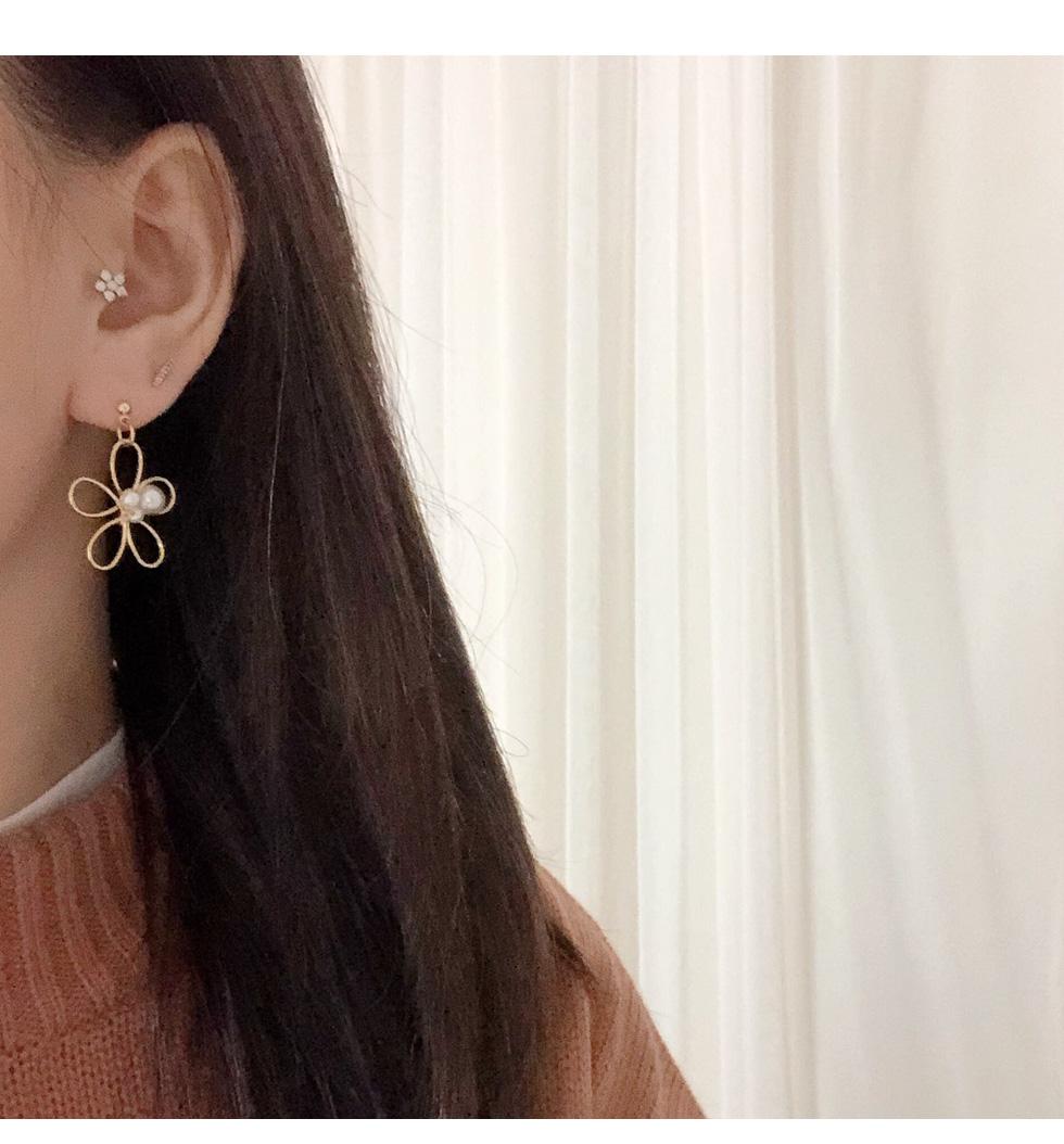 라인 플라워 귀걸이(귀찌) - 쿠잉미, 12,000원, 골드, 드롭귀걸이