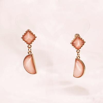 빈티지 핑크 하프써클 귀걸이