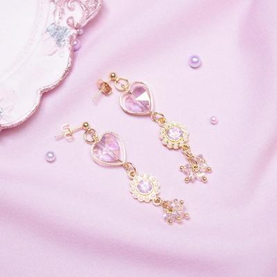 사계 하트 드롭 귀걸이(귀찌)