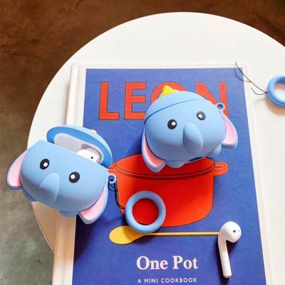 에어팟케이스 귀여운 3D코끼리 캐릭터 실리콘 커버 키링고리 세트 무선 이어폰 악세서리 1 2세대 커플 추천