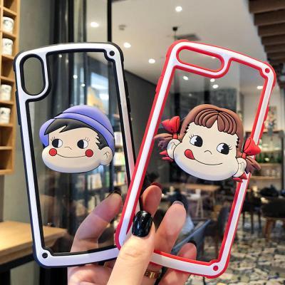 갤럭시 S10 S9/플러스 S10E 노트 9/8 귀여운 커플 캐릭터 스마트톡 거치대 투명 소프트 하드 핸드폰 케이스