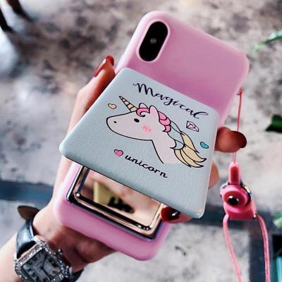 아이폰 XR/XS/MAX 맥스/X/8 7 플러스/핑크 유니콘 캐릭터 미러 거울 거치대 스트랩 소프트 핸드폰 케이스