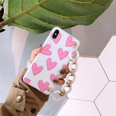 아이폰 XR/XS/MAX 맥스/X/8 7 플러스/귀여운 하트 패턴 스트랩 테슬 소프트 실리콘 슬림핏 핸드폰 케이스