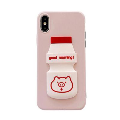 아이폰 XR/XS/MAX 맥스/X/8 7플러스/귀여운 3D입체 핑크돼지 캐릭터 요구르트 소프트 슬림핏 휴대폰 케이스
