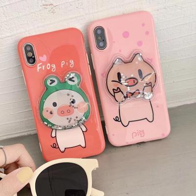 아이폰 XR/XS/MAX 맥스/X/8 7 플러스/귀여운 핑크돼지 3D 입체 글리터 슬림 실리콘 핸드폰 케이스