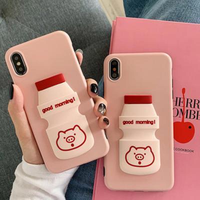 갤럭시 S10E S10/5G/S9/S8 플러스 노트9 8 귀여운 3D입체 야구르트 핑크돼지 캐릭터 실리콘 핸드폰 케이스
