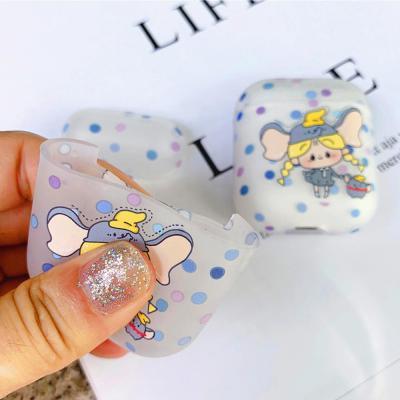 에어팟 1/2 귀여운 코끼리 소녀 캐릭터 투명 실리콘 젤리 커버 케이스 블루투스 이어폰 파우치 악세서리