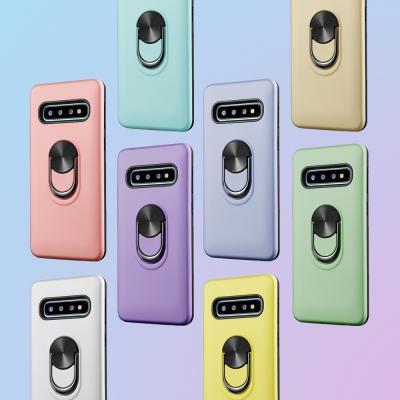 갤럭시 노트10/9/8 S10 S9 플러스 파스텔 컬러 스마트 핑거링 거치대 슬림핏 실리콘 범퍼 핸드폰 케이스