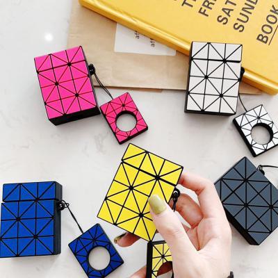 에어팟 1/2 차이팟 형광컬러 사각 패턴 디자인 젤리 하드 커버 케이스 키링 고리 세트 커플 악세사리