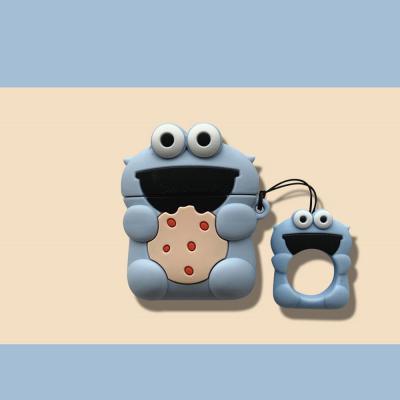 에어팟케이스 차이팟 귀여운 쿠키몬스터 캐릭터 실리콘 유/무선 충전 커버 키링고리 이어폰 악세사리 1/2