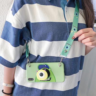 아이폰 XR XS MAX 8 7 플러스 귀여운 커플 몬스터 캐릭터 스마트톡 거치대 목걸이줄 스트랩 실리콘 케이스