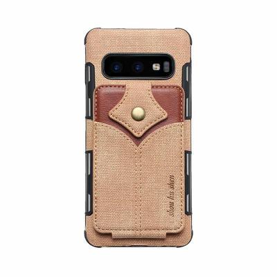 갤럭시 노트10/노트9/S10/S10E/플러스 패브릭 가죽 카드포켓 지갑 수납 실리콘 범퍼 핸드폰 케이스