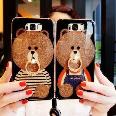 갤럭시 S10 S10E S9 S8 플러스 노트10 9 8 귀여운 곰돌이 캐릭터 예쁜 큐빅 스마트링 실리콘 핸드폰 케이스