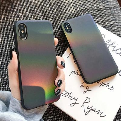 아이폰 XR XS맥스 MAX 8 7 플러스 그라데이션 홀로그램 블랙 심플 슬림 소프트 실리콘 핸드폰 케이스