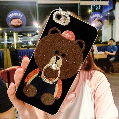 아이폰 11 프로 맥스MAX XR XS 8 7/플러스 귀여운 곰돌이 캐릭터 예쁜 큐빅 스마트링 실리콘 핸드폰 케이스
