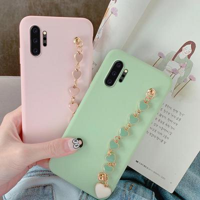 갤럭시 노트10 9 8 S10 S10E S9/플러스 예쁜 러블리 하트 쥬얼리 스트랩 파스텔 실리콘 슬림 핸드폰 케이스