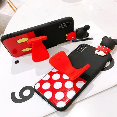 갤럭시노트10 노트9 S10 S10E S9플러스 귀여운 입체 커플 마우스 캐릭터 리본 거치대 실리콘 핸드폰 케이스