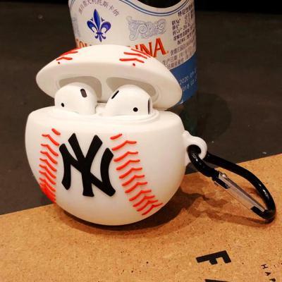 에어팟케이스 1/2 차이팟 스포츠볼 귀여운 NY 야구공 실리콘 유/무선 충전 커버 카라비너 고리 악세사리