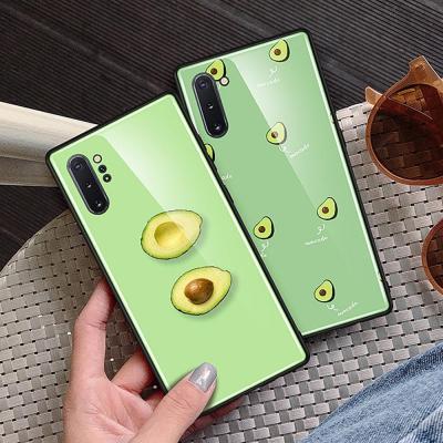 갤럭시 노트10 노트10플러스 노트9 귀여운 아보카도 패턴 강화유리 슬림 하드 TPU 핸드폰 케이스 커플 추천