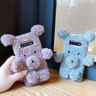 갤럭시 노트10 9 8 S10 5G S9 플러스 귀여운 파스텔 곰돌이 겨울 후리스 양털 큐빅 실리콘 핸드폰 케이스