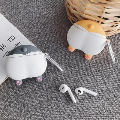 에어팟프로케이스 3세대 특이한 웰시코기 강아지 엉덩이 실리콘 유선 무선 충전 커버 카라비너 키링 고리