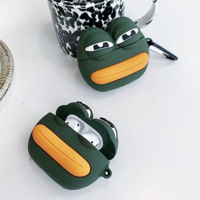 에어팟프로케이스 PRO 3세대 특이한 슬픈 개구리 캐릭터 실리콘 충전 스킨 키링 고리 이어폰 악세사리 추천
