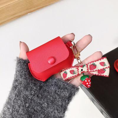 에어팟프로 3세대 컬러 가죽 파우치 무선 이어폰 충전 케이스 귀여운 식빵 강아지 딸기 캐릭터 키링 고리