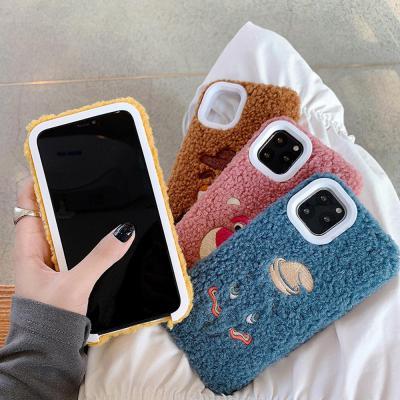 아이폰11 프로 맥스 XR XS 8 7플러스 귀여운 캐릭터 파스텔 뽀글이 후리스 양털 커플 실리콘 핸드폰 케이스