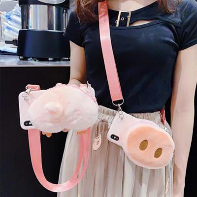 아이폰 11 프로 맥스 XR XS 8 7 플러스 특이한 돼지 캐릭터 목걸이줄 스트랩 지퍼포켓 지갑 겨울 털 케이스
