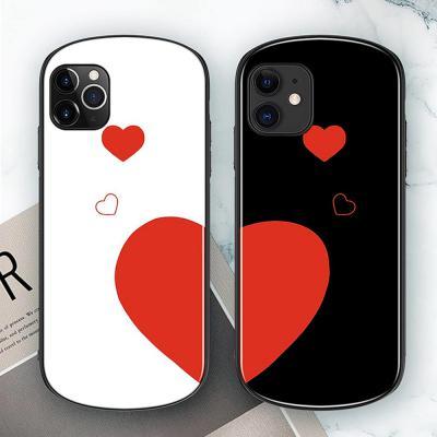 아이폰11 프로 맥스 MAX XR XS 8 7 플러스 귀여운 커플 하트 블랙&화이트 강화유리 슬림 하드 범퍼 케이스