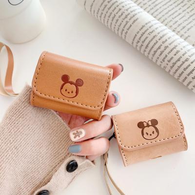 에어팟프로케이스 3세대 귀여운 커플 마우스 곰돌이 캐릭터 PRO 무선 이어폰 충전 가죽 파우치 스트랩 고리