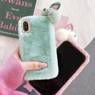 아이폰12 11 프로 맥스 XR XS SE2 8 7 파스텔 뽀글이 토끼 인형 퍼 양털 후리스 겨울 커플 젤리 폰 케이스