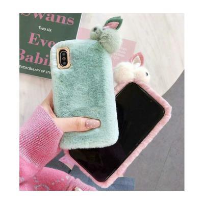 갤럭시 노트10 9 8 S10 5G 플러스 귀여운 커플 토끼 인형 파스텔 겨울 털 퍼 실리콘 젤리 핸드폰 케이스