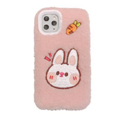 아이폰11 프로 맥스 XR XS 8 7플러스 귀여운 토끼 곰돌이 캐릭터 뽀글이 양털 후리스 커플 핸드폰 케이스