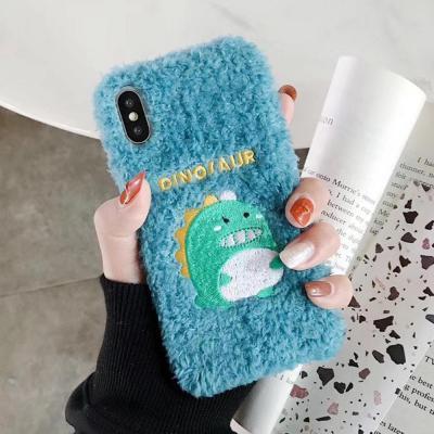 아이폰11 PRO MAX XR XS 8 7 플러스 귀여운 아기공룡 캐릭터 자수 커플 뽀글이 후리스 니트 털 젤리 케이스