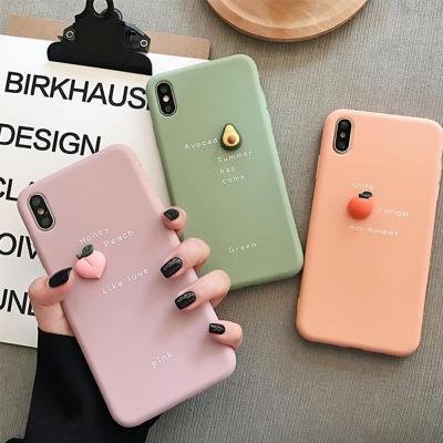 아이폰11 프로 맥스 XR XS X 8 7 플러스 귀여운 입체 과일 데코 TPU 실리콘 젤리 핸드폰 케이스 커플 추천
