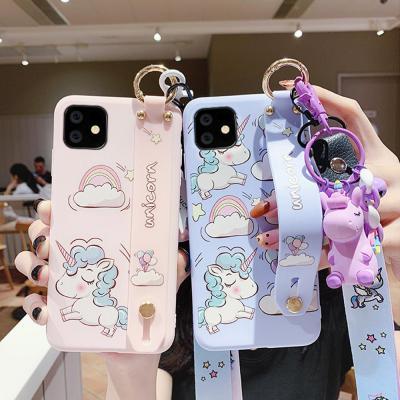 아이폰11 프로 맥스 XR XS 8 7 플러스 귀여운 파스텔 유니콘 캐릭터 스트랩 목걸이줄 젤리 핸드폰 케이스